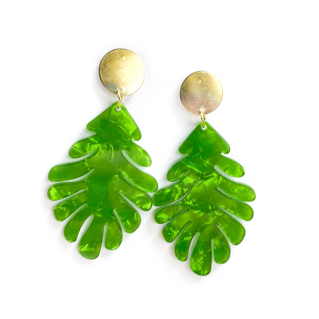 Pearlescent Lime Monstera Leaf - Stud Dangles