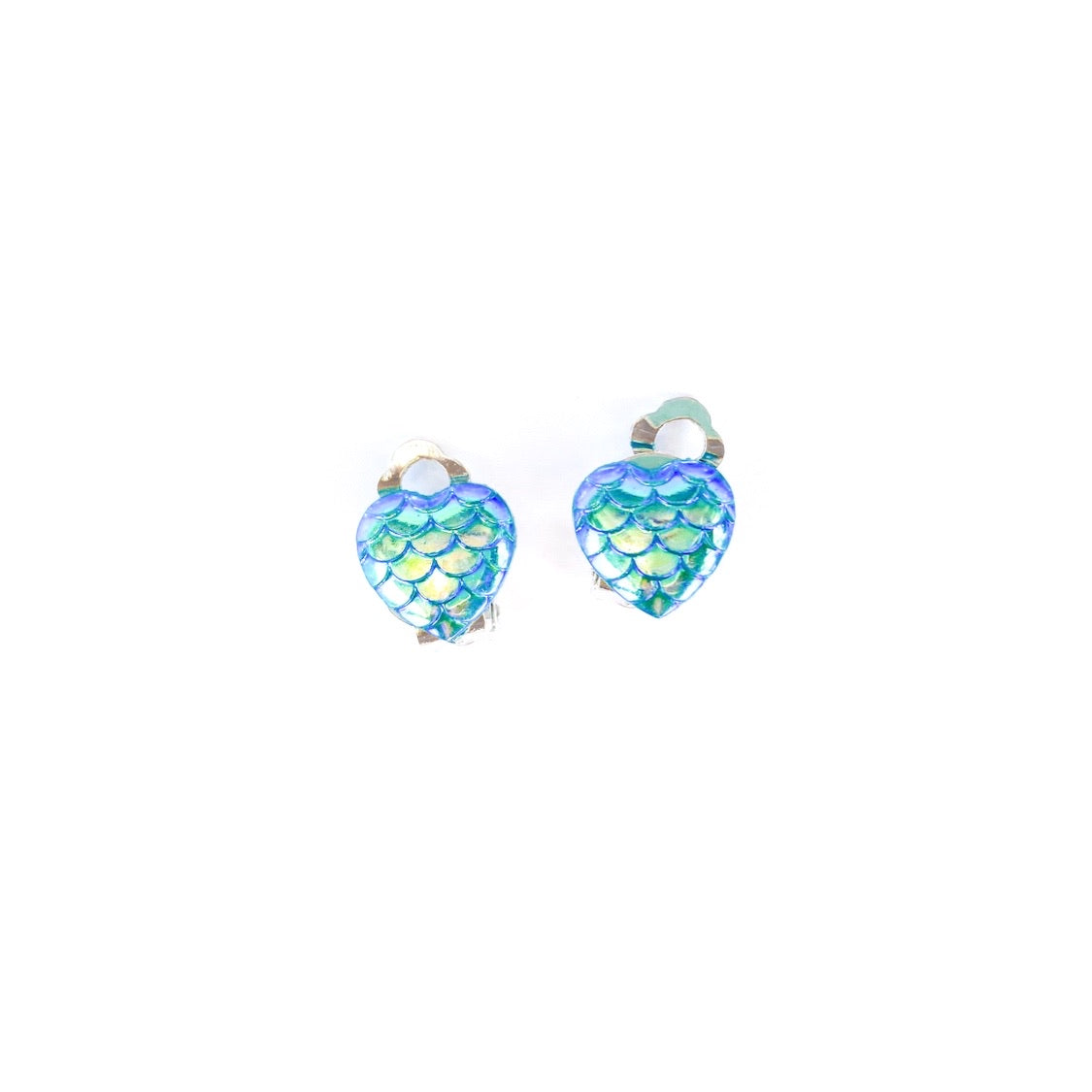 Teal Mermaid Hearts - Shaped Silver CLIP ONS