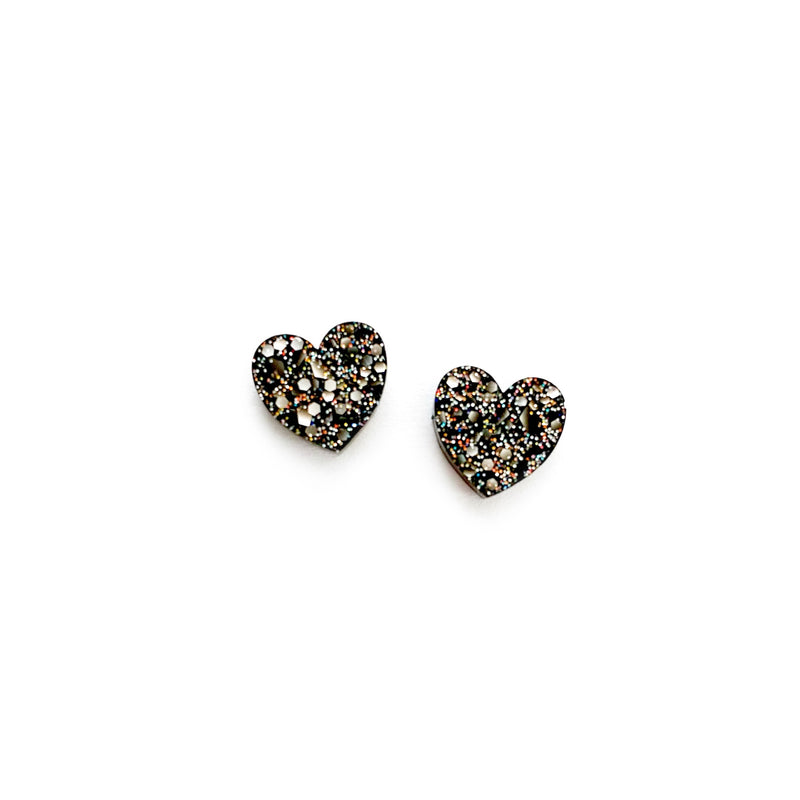 Filthy Rich Glitter - Heart Shaped Studs
