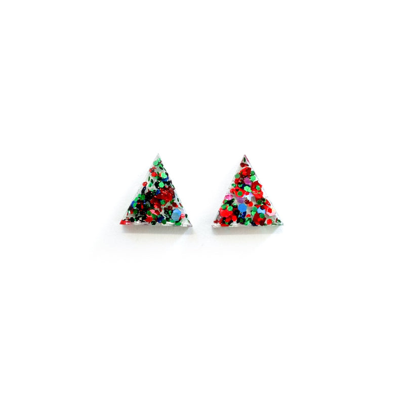 Yuletide Glitter Triangles - 15mm Shaped Studs