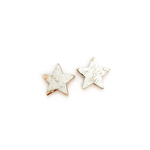 Warm Wood Silver Gilded Stars - 17mm Studs