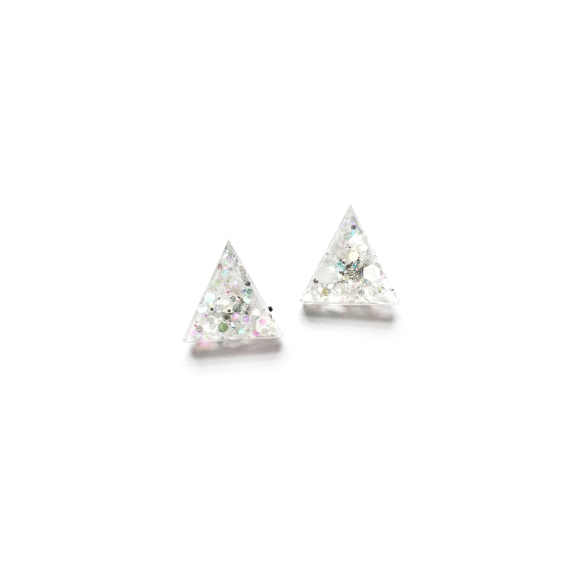 Clarity Glitter Triangle - Shaped Studs