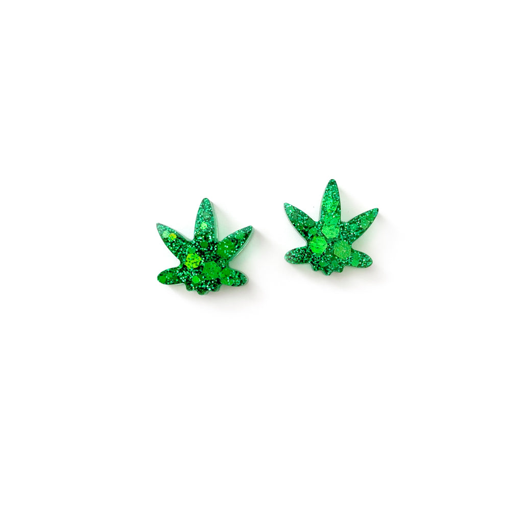 Green Glitter Mary Jane - Shaped Studs