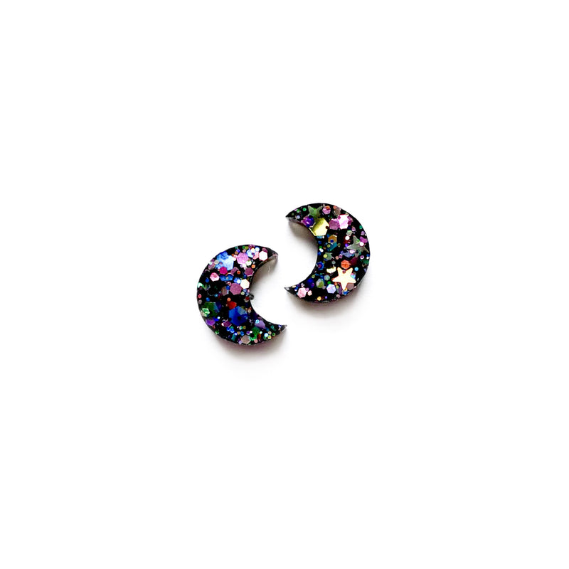 Magic Glitter Half Moon - Shaped Studs