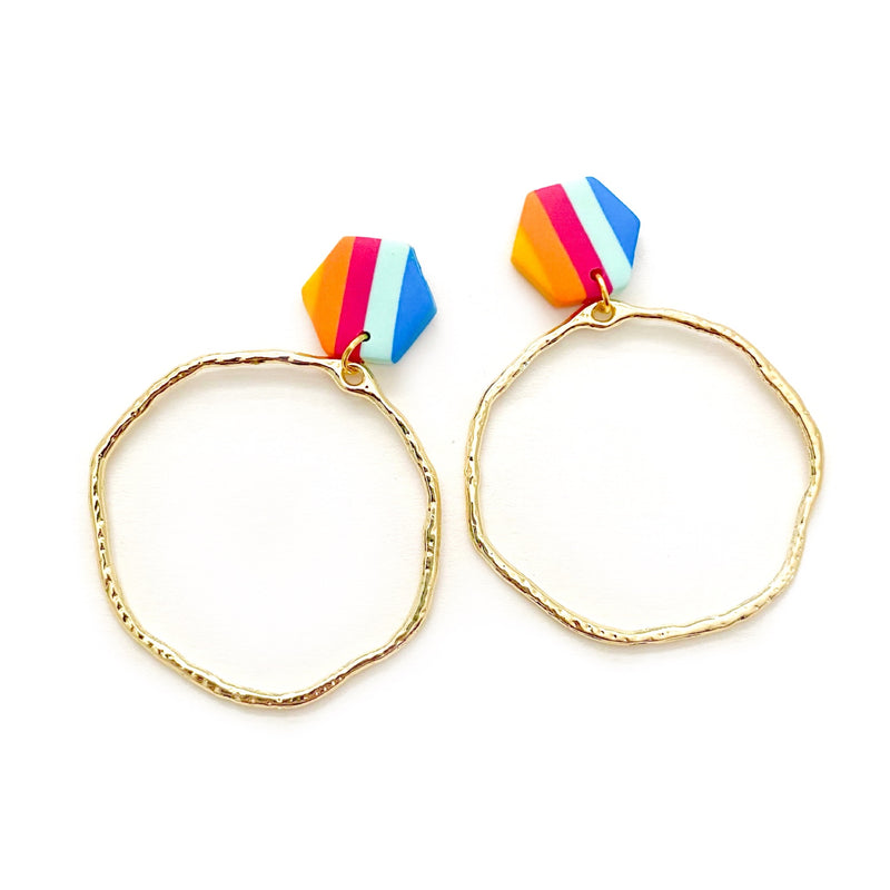 Retro Rainbow Stripe & Gold - Stud Hoops