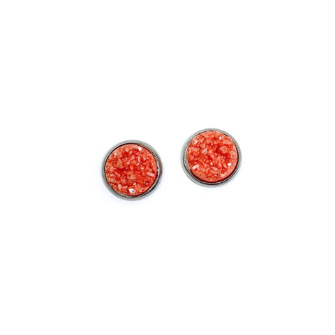 Guava in Silver - 12mm Faux Druzy Studs