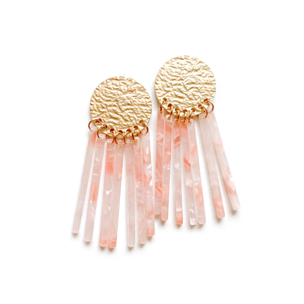 Blush Tortoise Shell - Disk Dangles