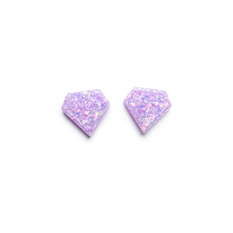 Lavender Glitter Diamond - Shaped Studs