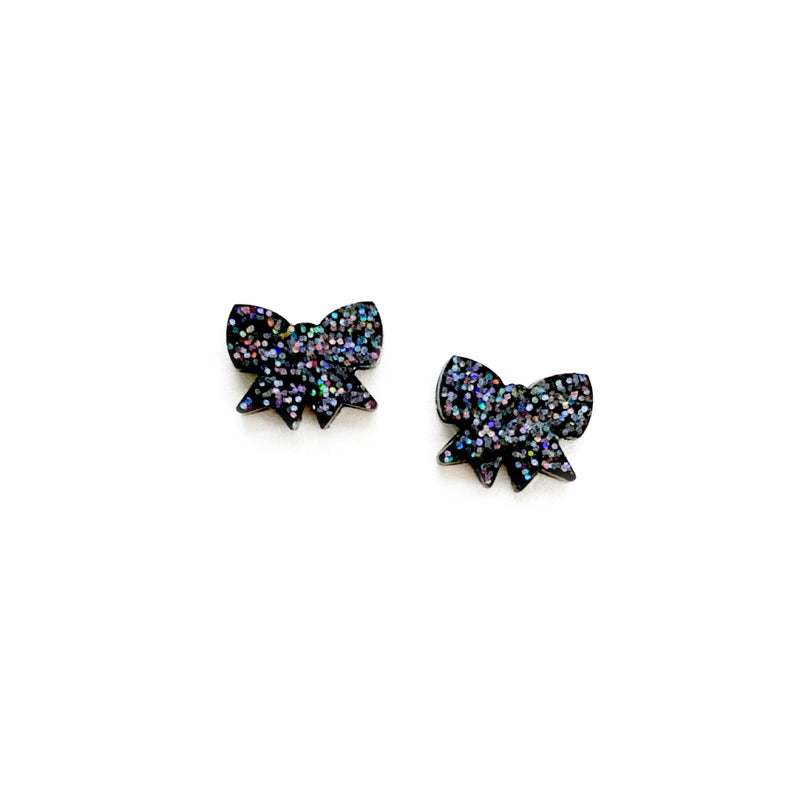 Stevie Glitter Bow - Shaped Studs