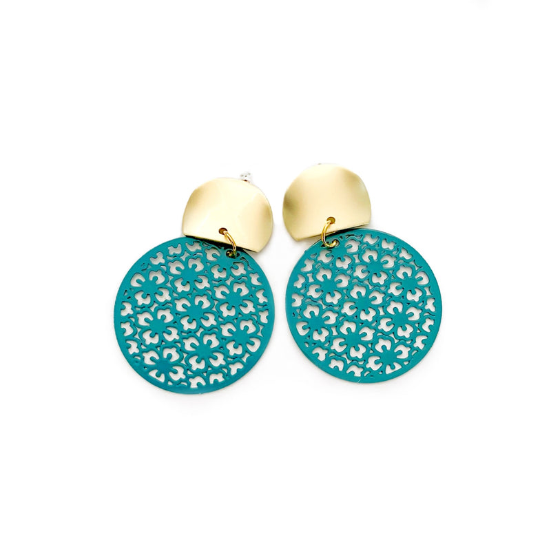 Turquoise Lattice - Round Stud Dangles