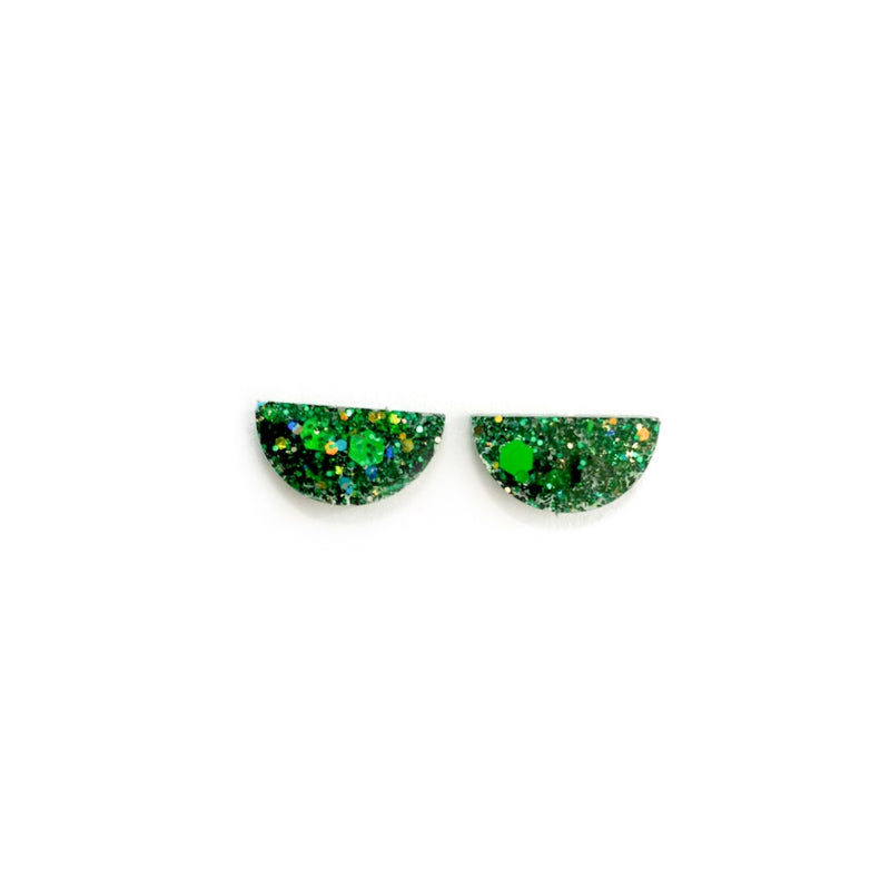 Green Glitter Arc - 15mm Shaped Studs