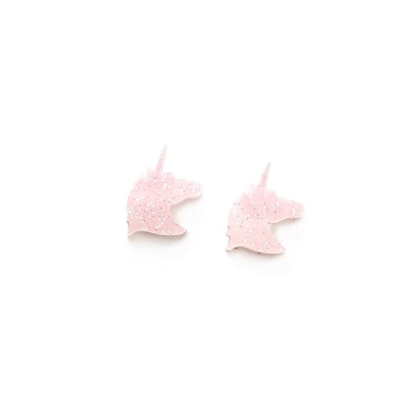 Pale Pink Glitter Unicorn - Shaped Studs