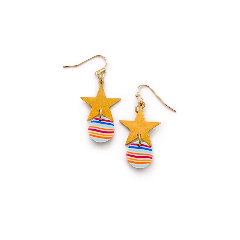 Rainbow Stripe Stars - Metal Dangles