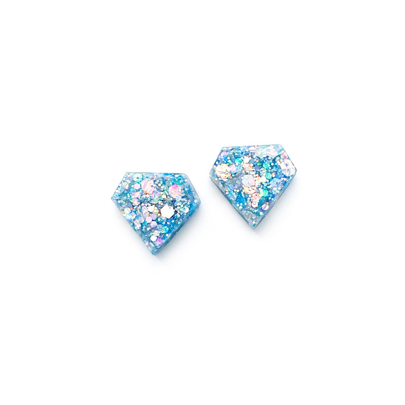 Sky Glitter Diamond - Shaped Studs