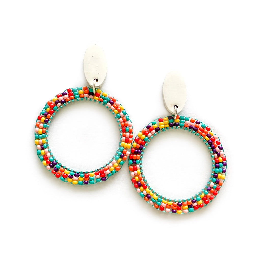 Rainbow - Beaded Hoop Dangles