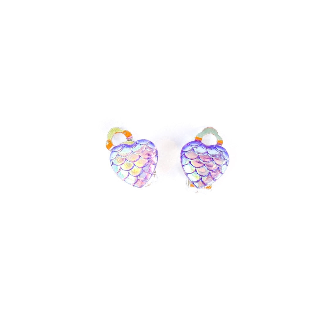 Purple Mermaid Hearts - Shaped Silver CLIP ONS