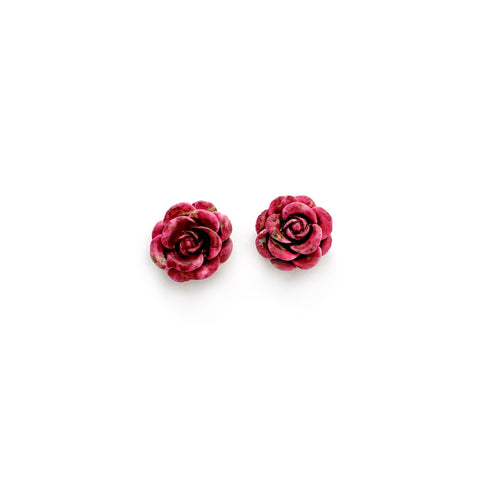 Burgundy Succulent Bloom 13mm - Shaped Studs