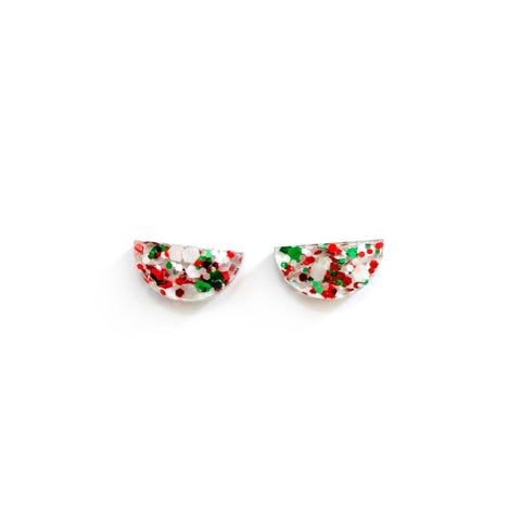 Christmas Glitter Arc - 15mm Shaped Studs
