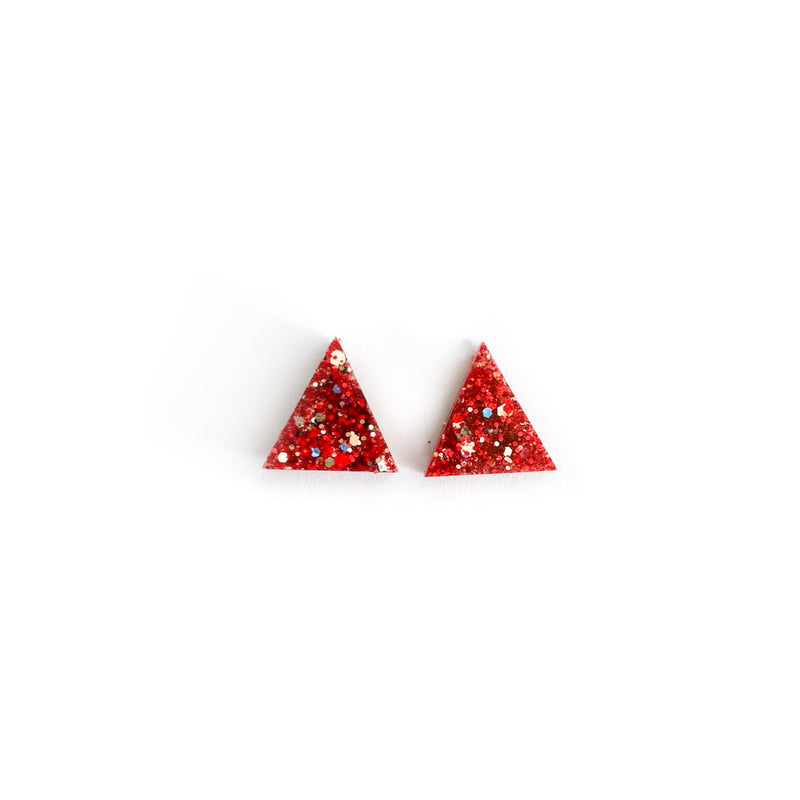 Red Glitter Triangles - 15mm Shaped Studs