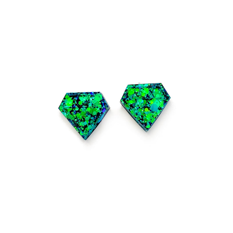 Lucky Glitter Diamond - Shaped Studs