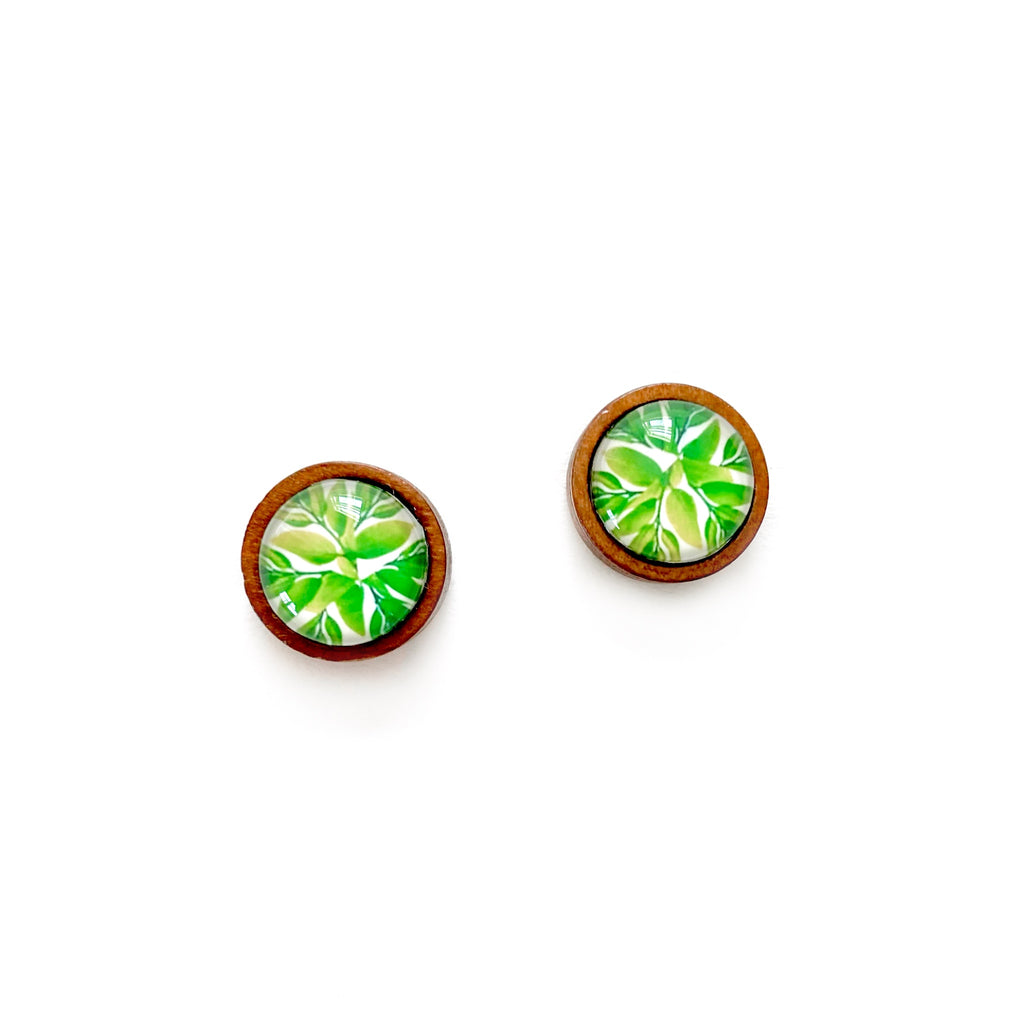 Leafy - 12mm Wood Dome Studs