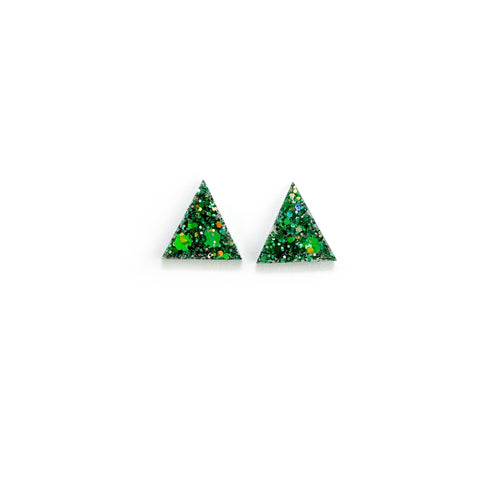 Holly Glitter Triangles - 15mm Shaped Studs