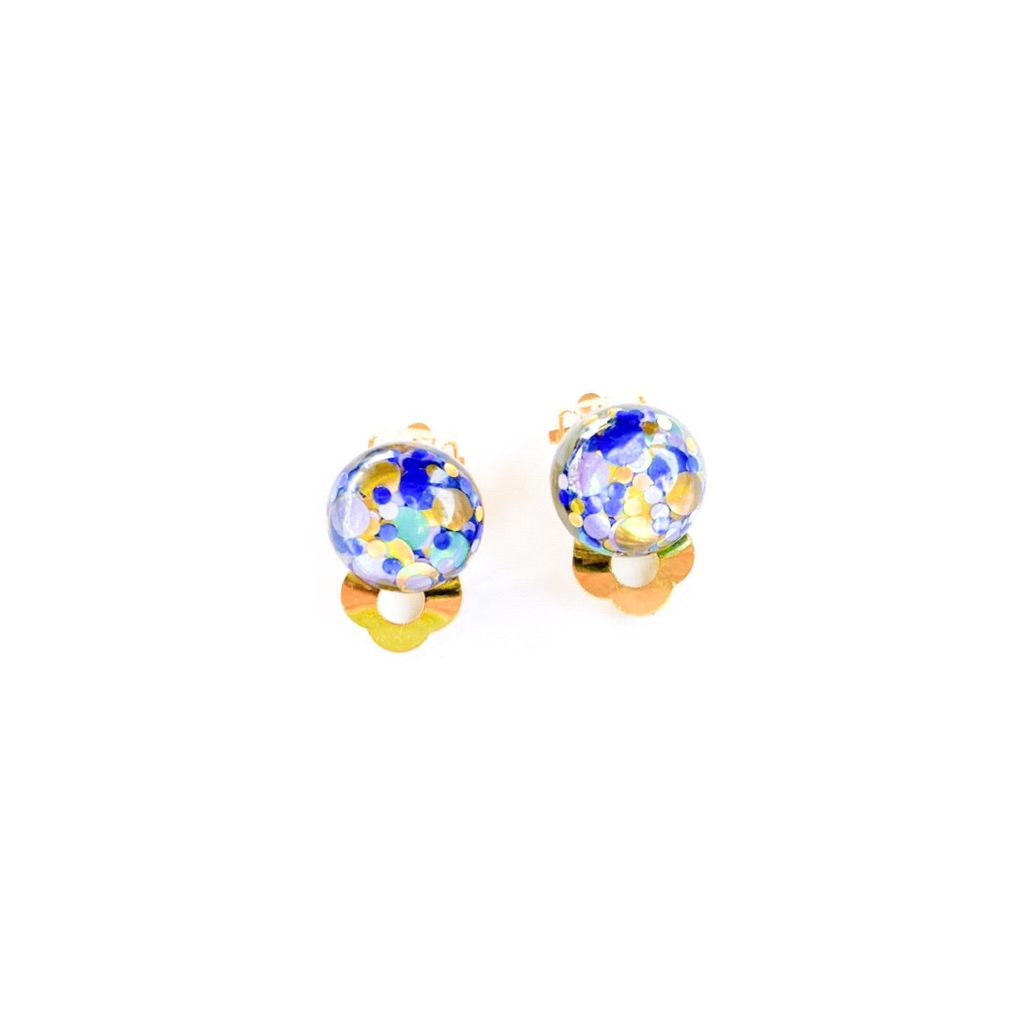Beachy Glitter - 12mm Dome Gold CLIP ONS