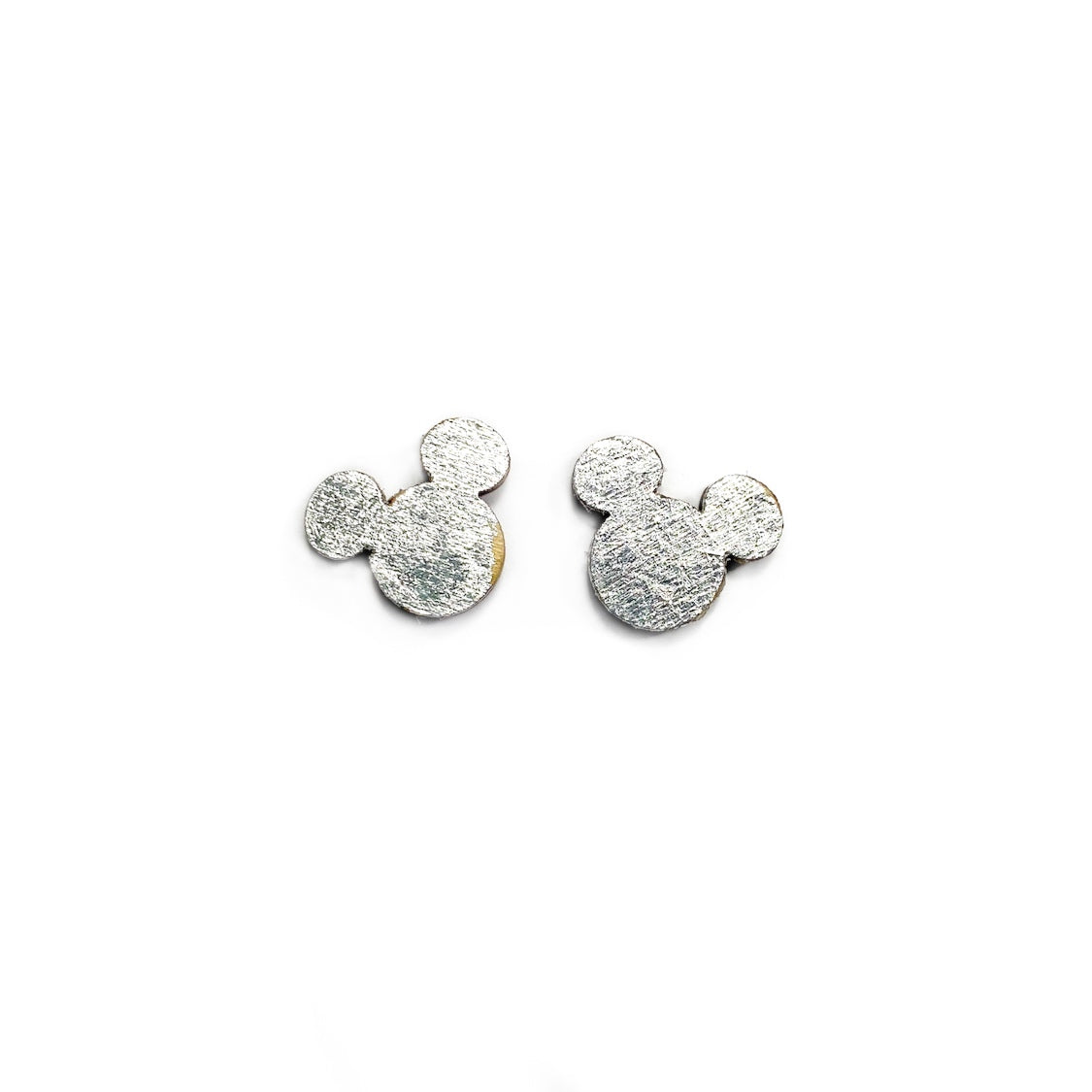 Silver Gilded Mouse Ear Timbers  - 12mm Wooden Shaped Studs