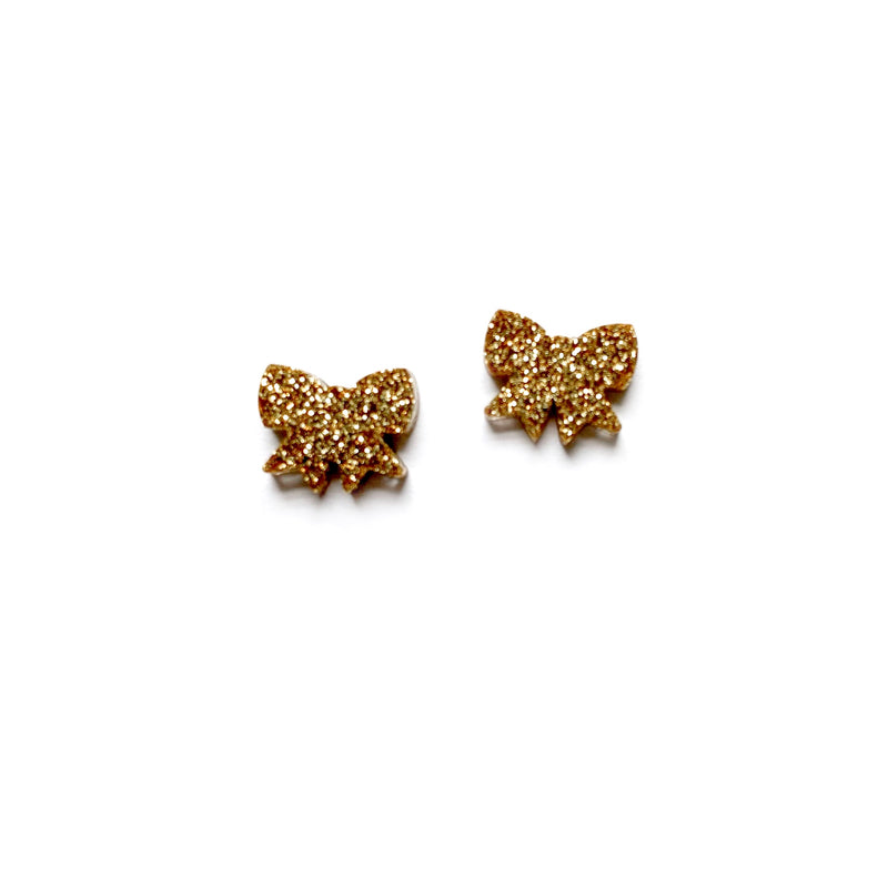 Antique Gold Glitter Bow - Shaped Studs