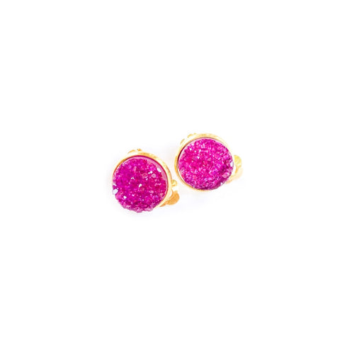 Fuchsia in Gold - 12mm Faux Druzy CLIP ONS