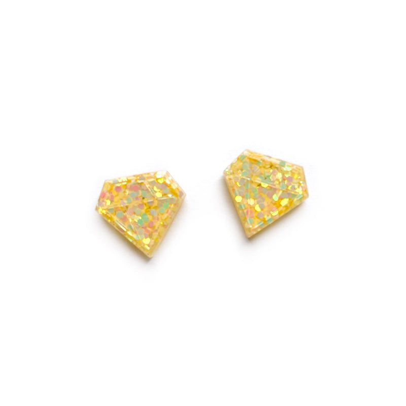 Daffodil Glitter Diamond - Shaped Studs