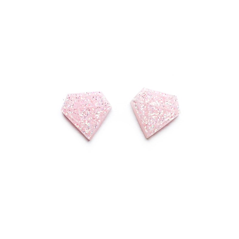 Blushing Glitter Diamond - Shaped Studs