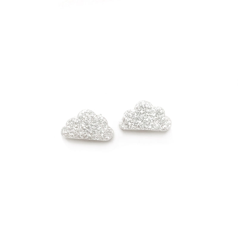 Silver Glitter Cloud - Shaped Studs