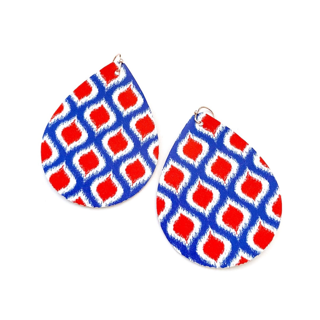 Red & Blue Ikat - Teardrop Swings