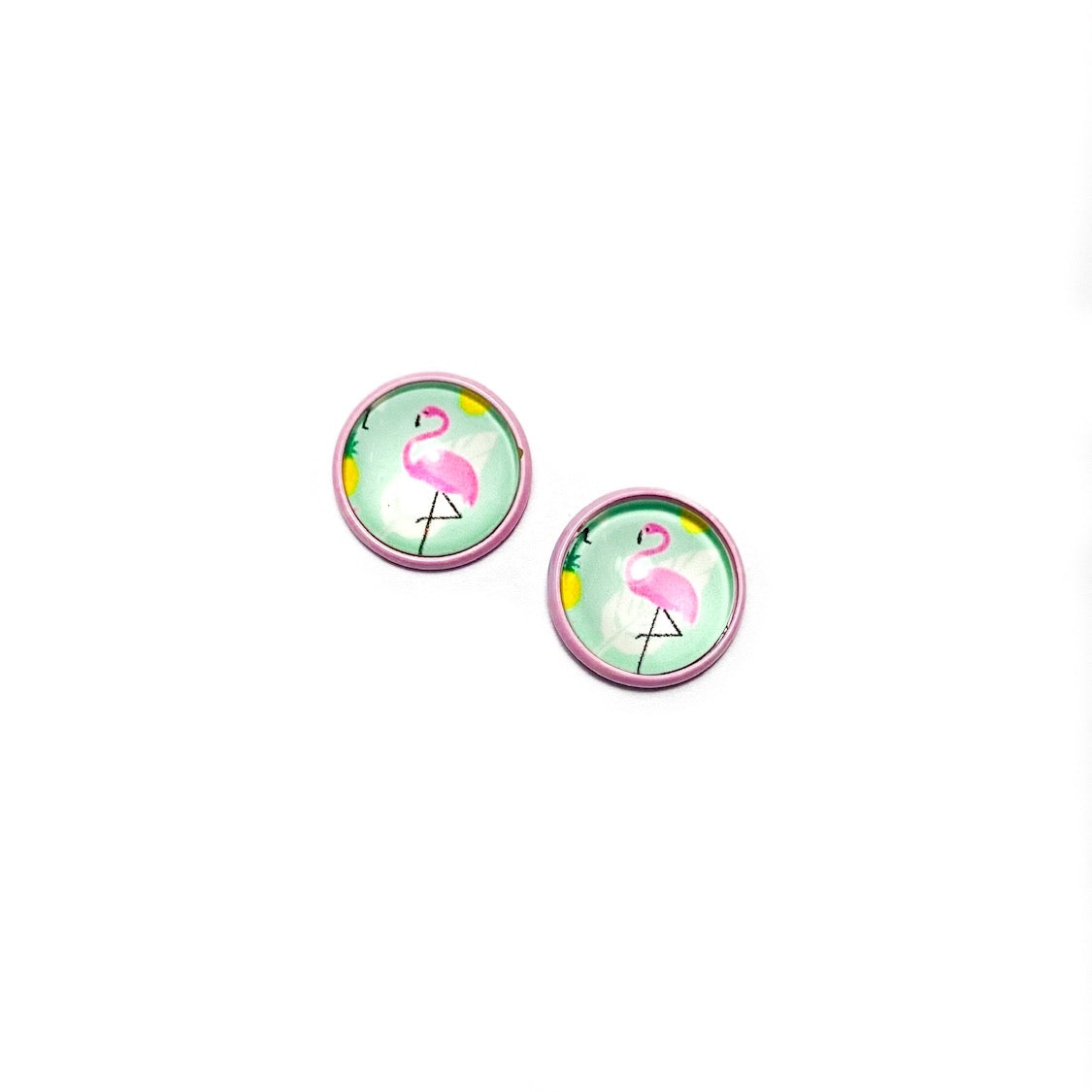 Flamingos in Blush - 12mm Dome Studs