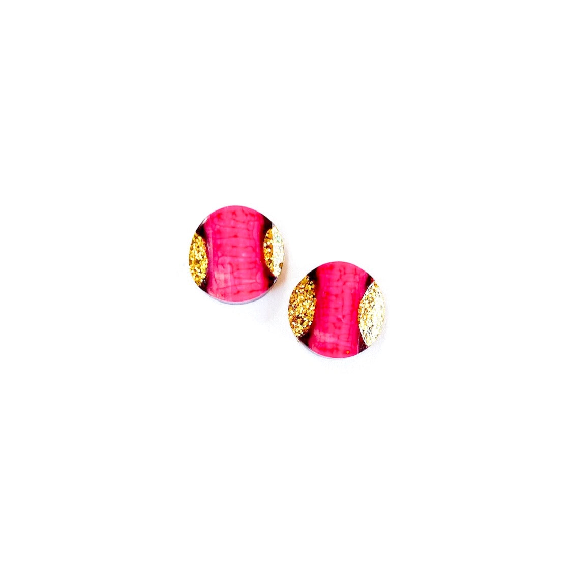 Hot Pink & Gold - 13mm Shaped Studs