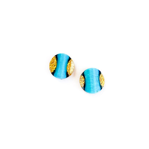 Bahama Blue & Gold Glitter - 13mm Shaped Studs