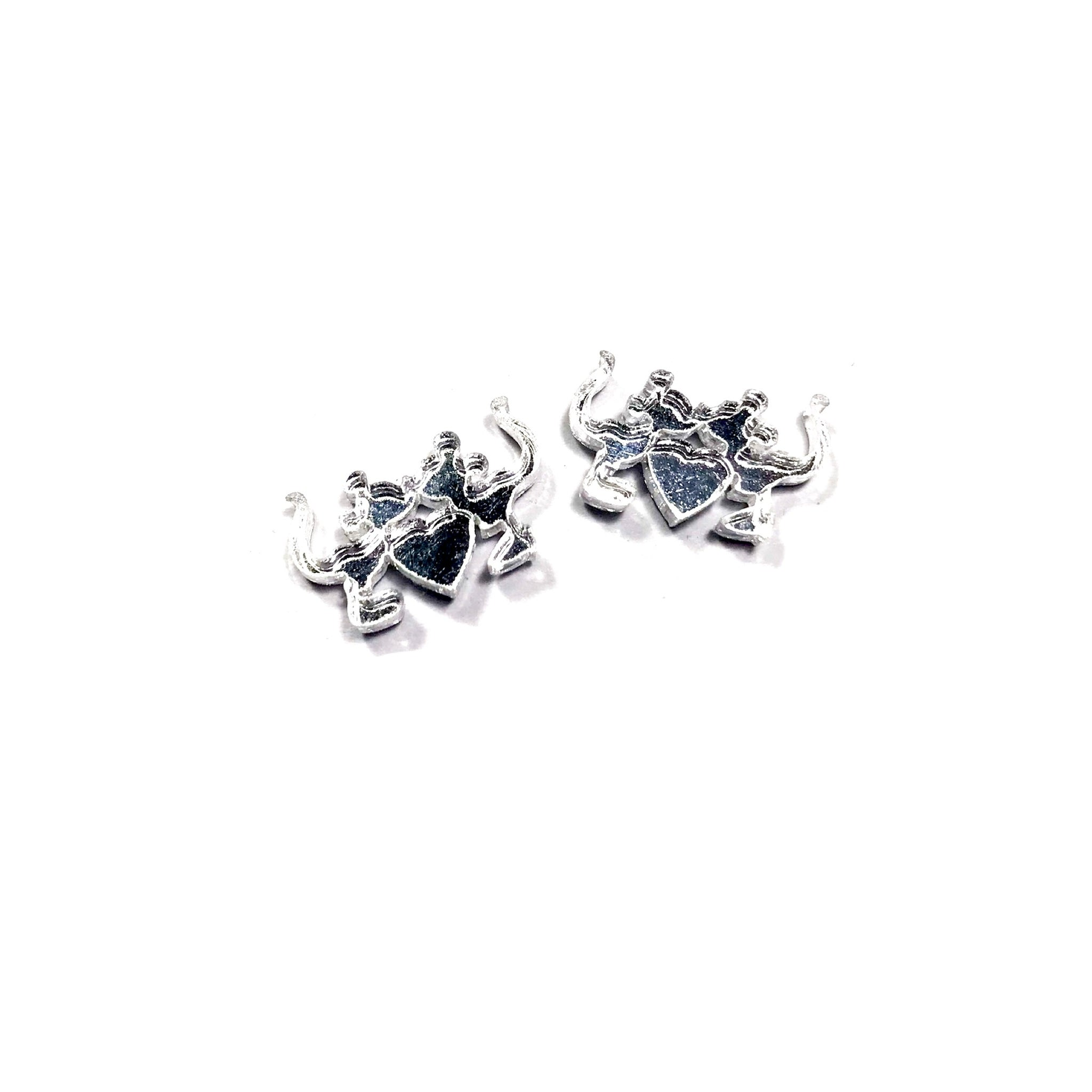 Silver Mirror Kissing Mouse - 15mm Shaped Studs