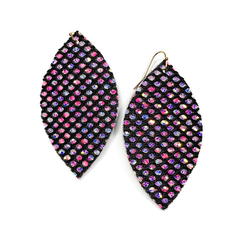 Black Fish Net Glitter - Slim Leaf Drops