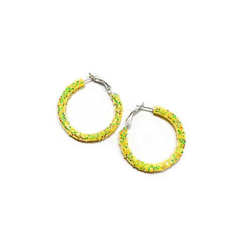Yellow Glitter Hoops