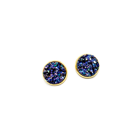 Deep Space in Gold - 12mm Faux Druzy Studs