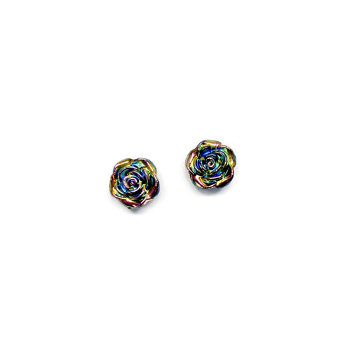 Oil Slick Rose - 15mm Shaped Studs