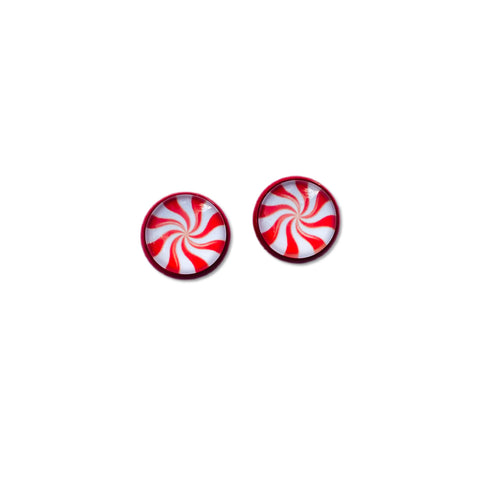 Peppermint in Red - 12mm Dome Studs