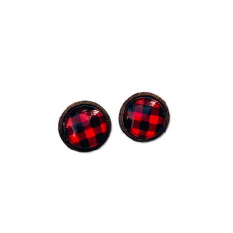 Red Buffalo Check - 12mm Wood Dome Studs