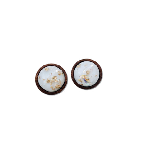 Gold Fleck in White- 12mm Wood Dome Studs