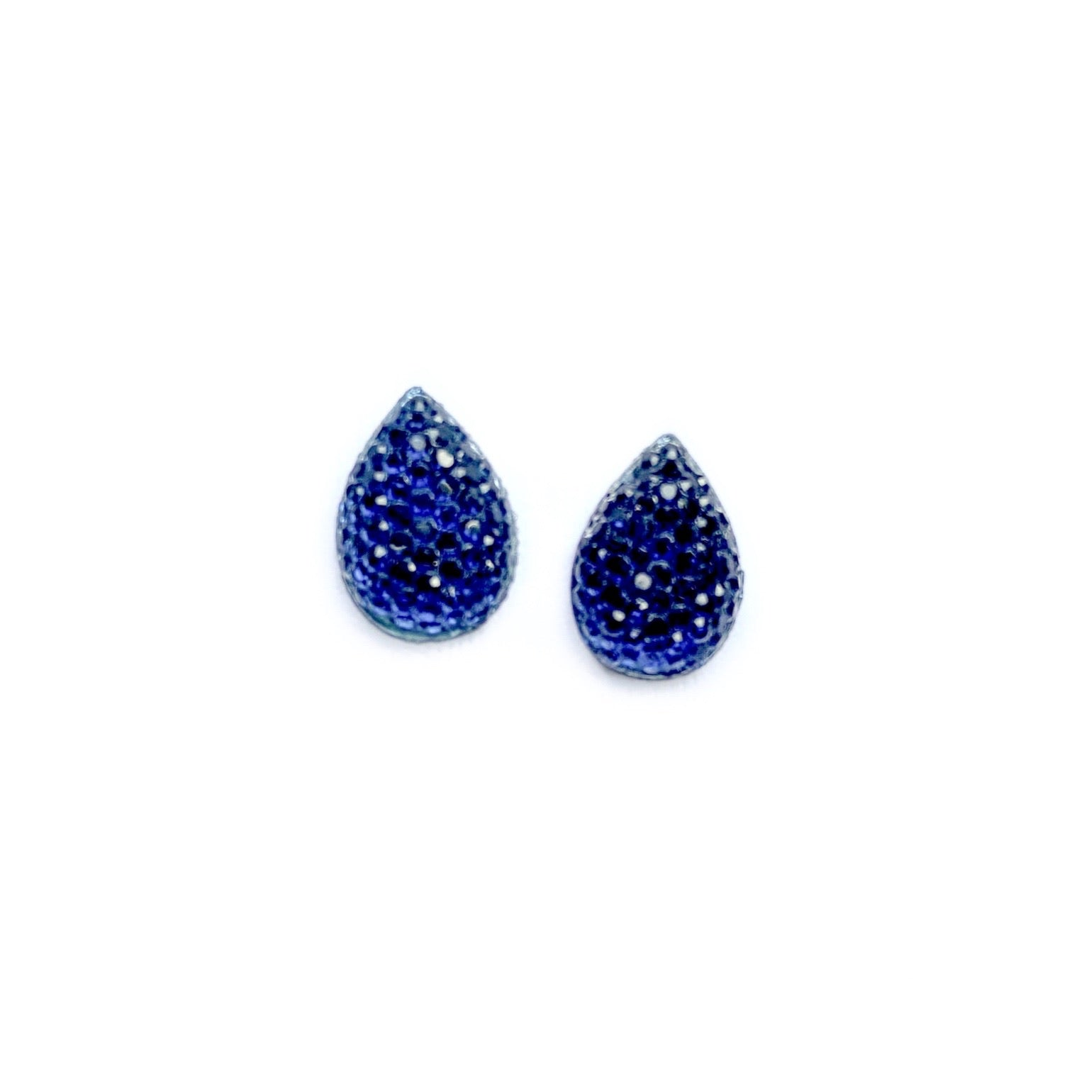 Navy - 13mm Rhinestone Teardrop Studs