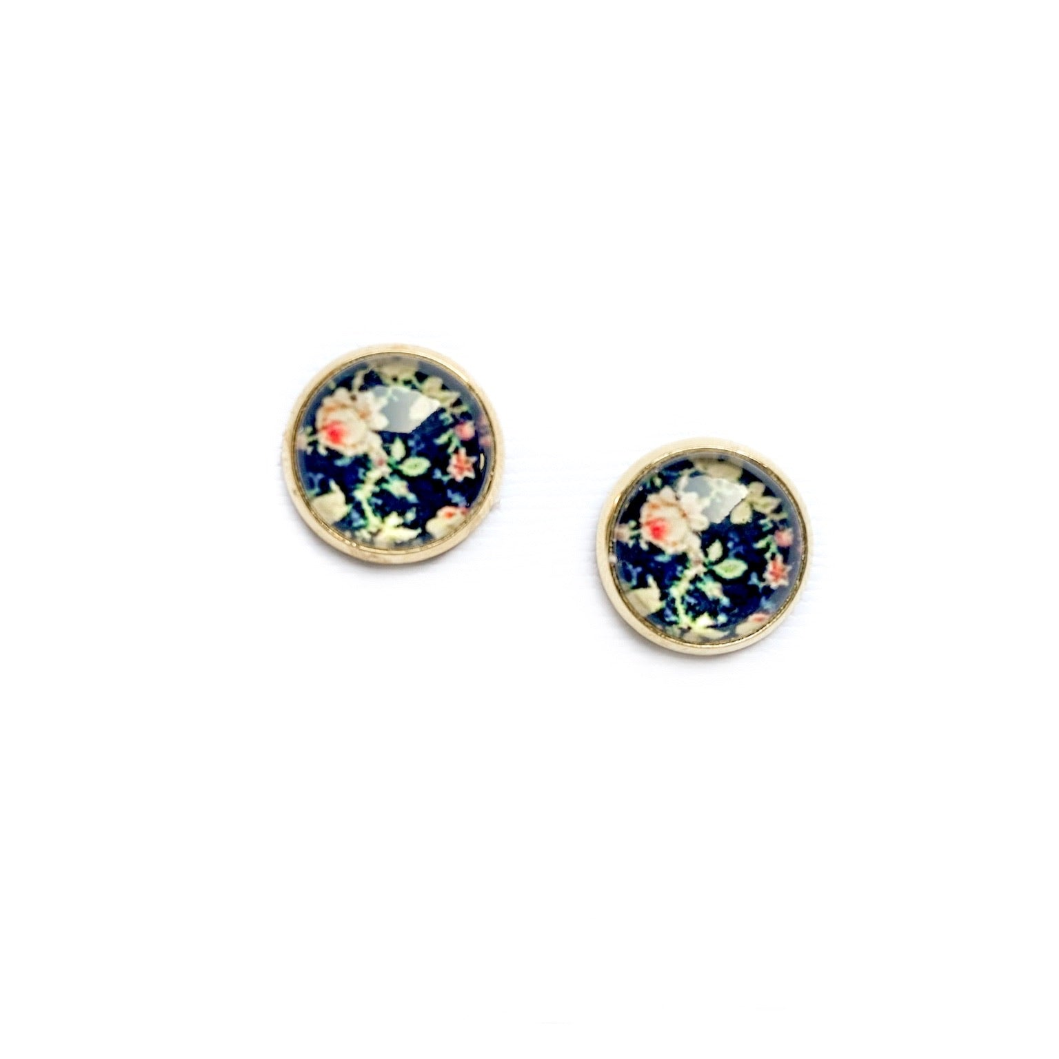 Night Floral - 12mm Dome Studs