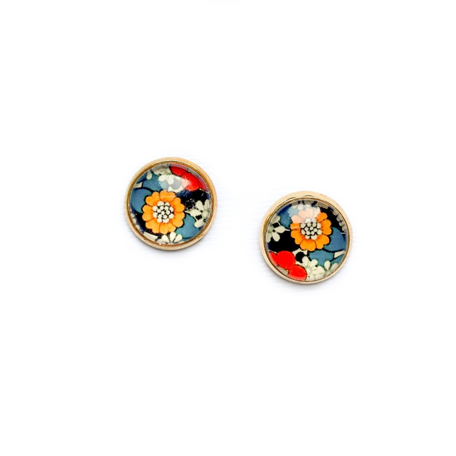 Boho Floral - 12mm Dome Studs