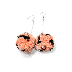 Peach Cheetah Pom Dangles