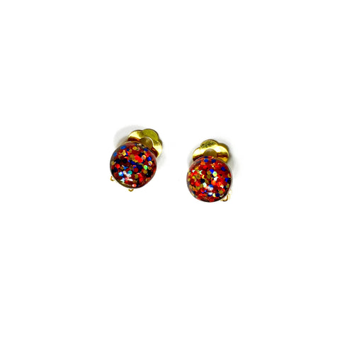 CLIP ONS Wonder Woman Glitter Domes  - 12mm Shaped Studs